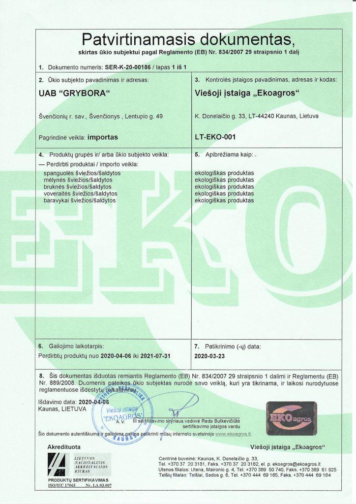 EKO importas Grybora 2020